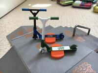 Finger skateboard, scooters and ramps