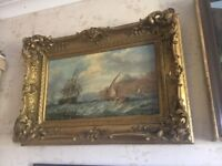 Sailing on choppie waters signed A Hulk oil on canvas 15in 21in duch artist VGC