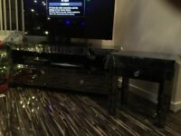 Lovely smokey glass tv stand and matching lamp table