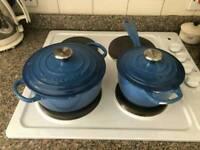 Le Creuset Signature Cast Iron 20cm Casserole and 16cm Sauce Pot Marseille Blue