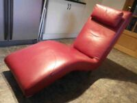 Retro Red Faux Leather Chaise Longue/Lounge/Sofa - CAN DELIVER LOCALLY