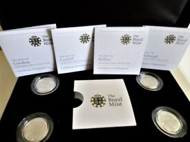 2010 & 2011 UK CAPITAL CITY SERIES ONE POUND COIN PIEDFORT .925 SILVER PROOF - BRAND NEW SET