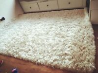 EXCELLENT CONDITION CREAM THICK PLUSH LIVING ROOM SHAGGY RUG 150cm X 230cm £55 ONO