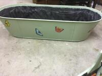 Large vintage tin bath & planter