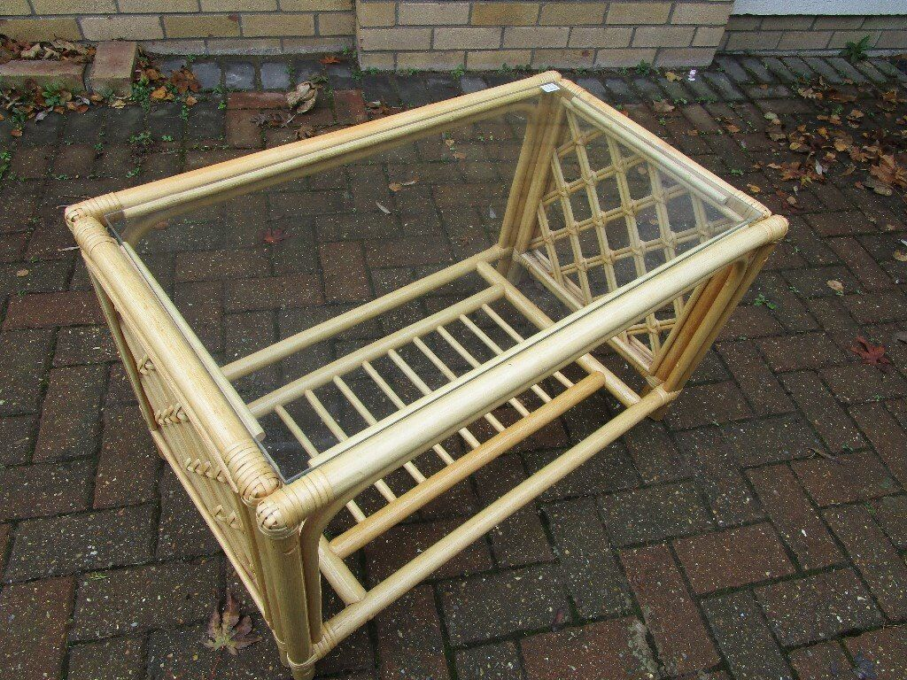 Rattan light pine glass-topped coffee table suitable for conservatory
