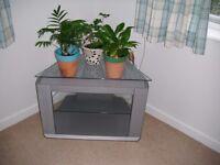 Phillips TV Corner Stand / Table - 2 Shelves Silver Grey