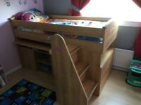 Mid-sleeper bed with Desk & Storage (mattress not included)