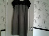 grey dress with black lace detail top size 14 ,fully lined ,I lost weight and it's too big for me