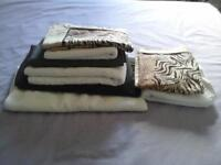 Small parcel of single size sheets, one pillow, towels.