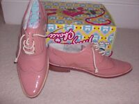 Flat pink Irregular Choice leather brogue type shoe