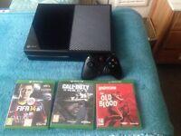 Xbox one 500gb wireless controller,4 games,Fifa 17 download code, cod ghosts,Fifa 14,wilfenstein