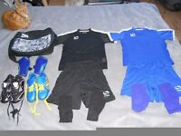 Child's complete football kit Including Boots and training boots.