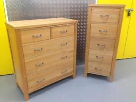 Solid oak chest of drawers & matching tallboy furniture - Laura Ashley John Lewis habitat loaf oka