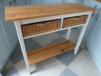 Pine Console Table with Two Wicker Baskets