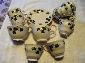 COLCLOUGH ENGLISH BONE CHINA TEA SET (IVY LEAF) - Collection only