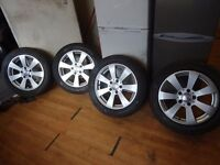 """set of 16"""" genuine merc coupe alloys just been refurbd brand new tyres all round quick sale £275"""