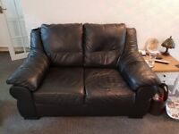 2 x 2 seaters black leather sofas