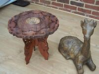 DECORATIVE WOOD TABLE AND ORNAMENTAL GIRAFFE