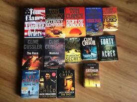Tom Clancy, Clive Cussler, Lee child book selection