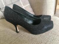 Black Heels , size 4 , VGC