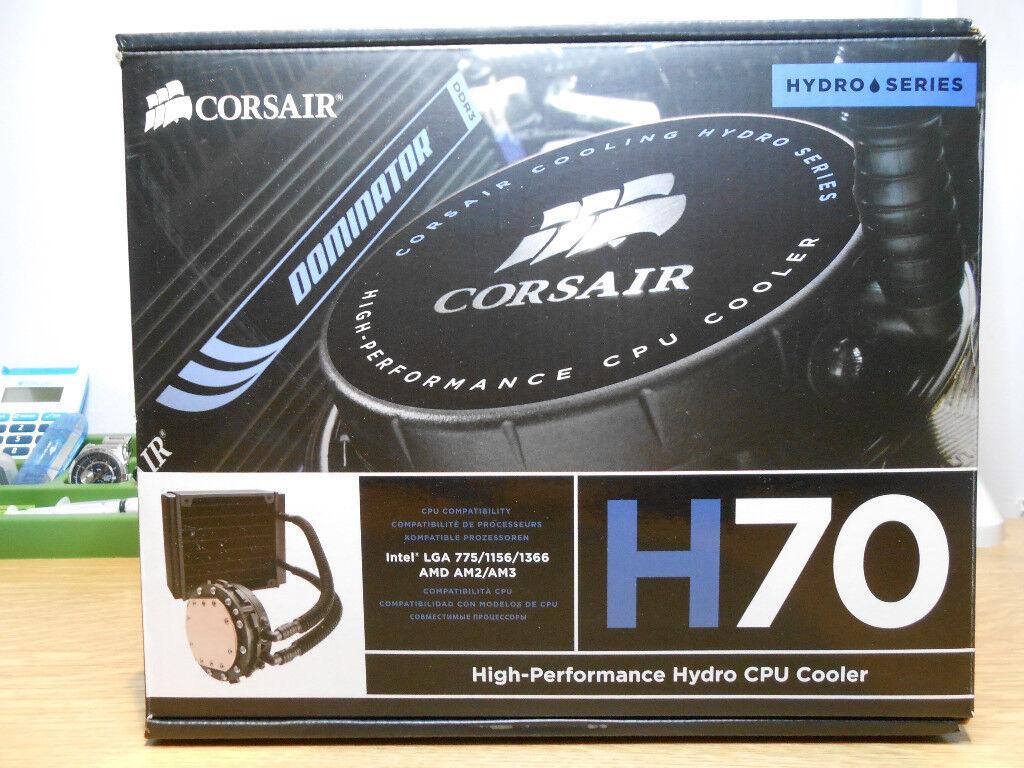 Boxed Corsair Hydro H70 Cpu Cooler Closed Loop High Performance Fan Processor Lga 775 Original Watercooling Dual 120mm