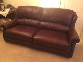 Wade Additions Burgundy Leather 3 Seater Sofa and Chair