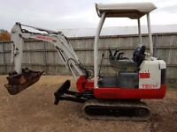 Takeuchi TB 014 1.5 tonne mini digger. Two speed tracking 3 buckets.
