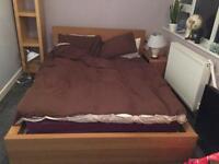 Ikea malm oak double bed