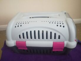 Like New Pink & Grey Cat Carrier