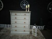 STUNNING SOLID PINE FARMHOUSE CHEST OF DRAWERS WITH 4+2 DOVETAIL DRAWERS