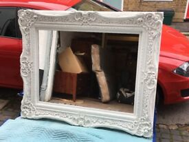Large Bespoke White Hand Made Mirror For Sale