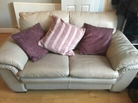2 two seater grey leather sofas for sale