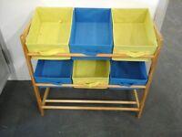 Childs bright coloured Blue & Yellow storage unit