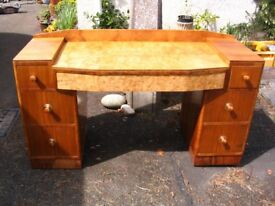 Vintage Art Deco chest of drawers/dresser/dressing table. Laptop desk. The Utility Furniture c. 1950