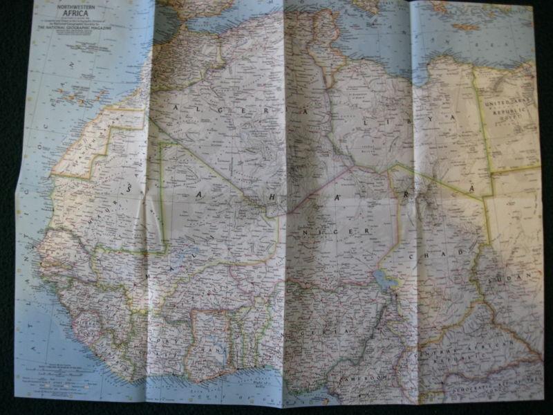 1966 NORTHWESTERN AFRICA NATIONAL GEOGRAPHIC MAP