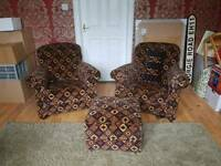 Pair of 30s Armchairs and Footstool LOCAL DELIVERY AVAILABLE FOC 1/9
