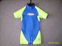 Kid's, child's shortie wetsuit wet suit, as new. (BLUE YELLOW)