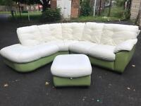 Exclusive real leather curve sofa with stool
