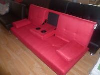 Red Fabric Sofa Bed 2/3 Seater With Cup holders