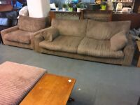 LARGE TAUPE COLOURED CORD SOFA WITH ARMCHAIR AND FOOTSTOOL