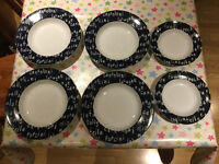 Excellent Condition Dramatic Marks & Spencer Home Italian Eating Large 6 piece Pasta Bowl Dining Set