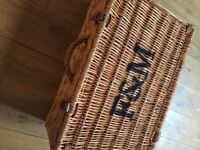 Large F&M Fortnum and Mason Wicker Hamper 51x33x20cm Storage Wedding Christmas With Leather Buckles