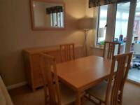 Beech Dining Table Extending 6 Chairs Sideboard Mirror
