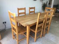 Dining Table & 6 Chairs Oak