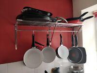 Chrome kitchen storage and hanging rack