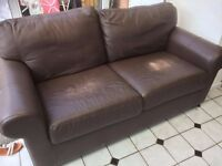 BROWN LEATHER SOFA - ONLY £10!