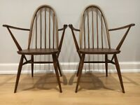 2 vintage mid-century Ercol Quaker Carver dining chairs