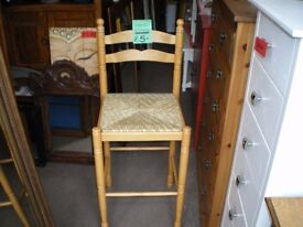 REDUCED-WOODEN STOOL WITH WICKER SEAT