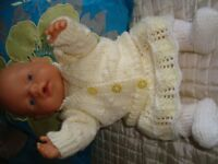 BABY BORN DOLL USED VGCSHE WEES POOS DRINKS DRESSED IN NEW HAND KNITTED CLOTHES BRILL FOR XMAS