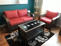 Imitation rattan sofa, chair and coffee table set